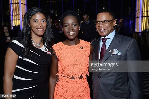 Hamilton producer Alia JonesHarvey actress Lupita Nyong'o and Hamilton producer Stephen C Byrd attend the 2016 Tony Awards Meet The Nominees Press...