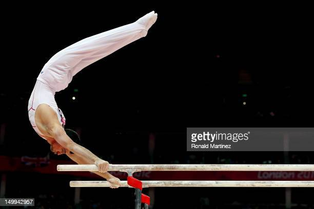 Hamilton Sabot of France competes on the parallel bars during the Artistic Gymnastics Men's Parallel Bars final on Day 11 of the London 2012 Olympic...
