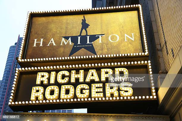 'Hamilton' Theatre Marquee unveiling The new LinManuel Miranda musical which explores the life of one of America's founding fathers moves into its...
