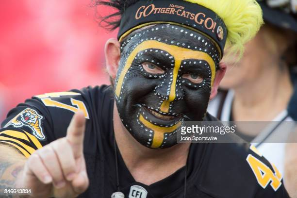 Hamilton TigerCats fan before the game against the Ottawa Redblacks in Canadian Football League Action at TD Place Stadium in Ottawa Canada on...