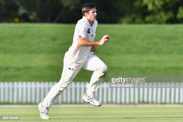 Hamish Bennett of Wellington runs in to bowl during the Plunket Shield match between Canterbury and Wellington on March 29 2017 in Christchurch New...