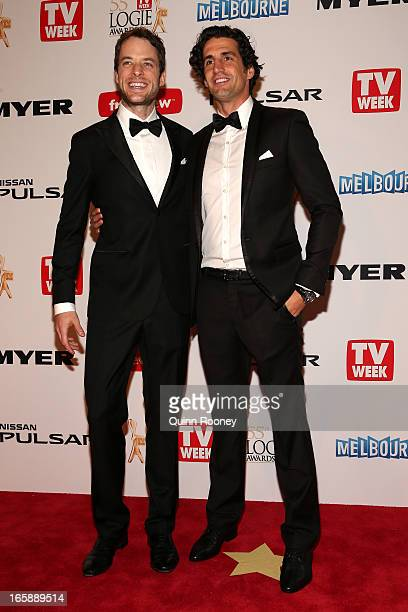 Hamish Blake and Andly Lee arrive at the 2013 Logie Awards at the Crown Palladium on April 7 2013 in Melbourne Australia