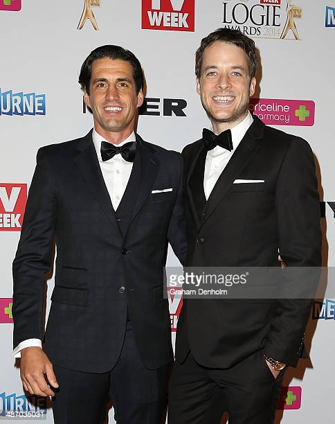 Hamish Blake and Andy Lee arrive at the 2014 Logie Awards at Crown Palladium on April 27 2014 in Melbourne Australia