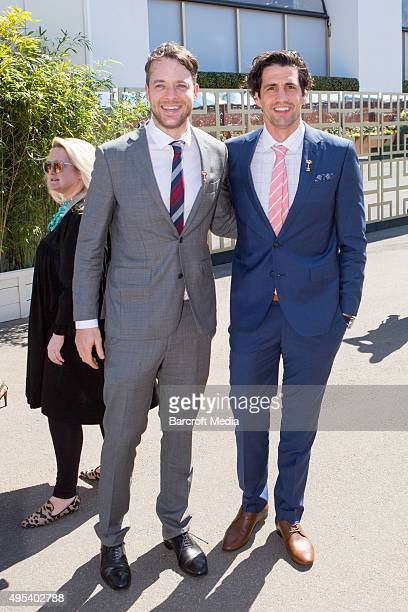 Hamish Blake and Andy Lee at the 2015 Melbourne Cup Carnival at Flemington Racecourse on November 3 2015 in Melbourne Australia Chris Putnam /...