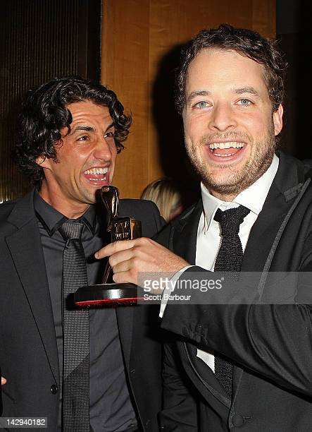 Hamish Blake and Andy Lee celebrate after Blake won the Gold Logie at the 2012 Logie Awards at the Crown Palladium on April 15 2012 in Melbourne...