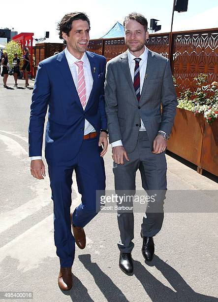 Hamish Blake and Andy Lee on Melbourne Cup Day at Flemington Racecourse on November 3 2015 in Melbourne Australia