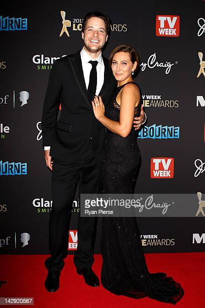 Hamish Blake and his fiance Zoe Foster arrive at the 2012 Logie Awards at the Crown Palladium on April 15 2012 in Melbourne Australia