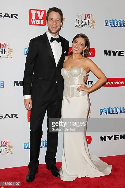 Hamish Blake and Zoe Foster arrive at the 2013 Logie Awards at the Crown on April 7 2013 in Melbourne Australia