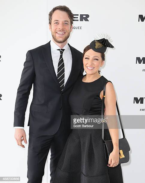 Hamish Blake and Zoe Foster attend the Myer Marquee on Derby Day at Flemington Racecourse on November 1 2014 in Melbourne Australia