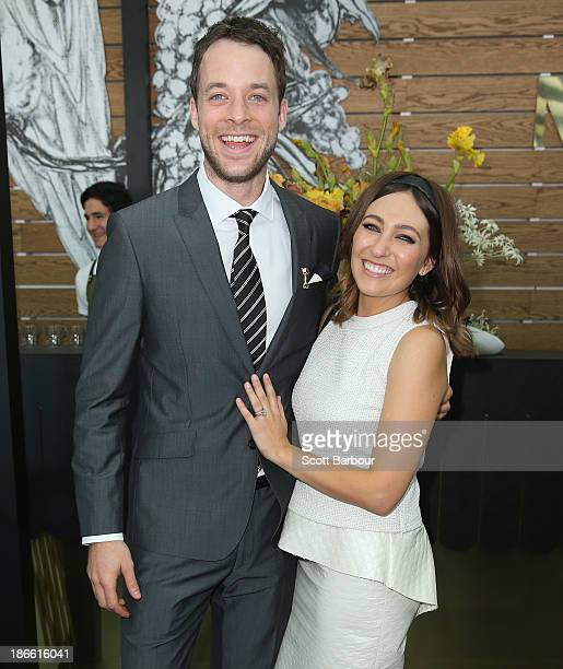 Hamish Blake and Zoe Foster attend the Myer marquee on Victoria Derby Day at Flemington Racecourse on November 2 2013 in Melbourne Australia