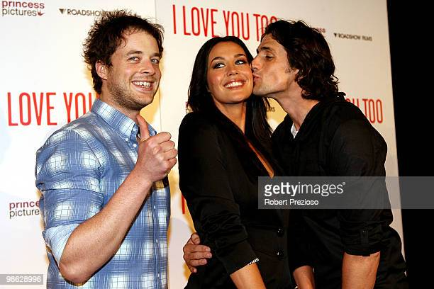 Hamish Blake Andy Lee and Megan Gale attend the premiere of 'I Love You Too' at Village Jam Factory on April 23 2010 in Melbourne Australia
