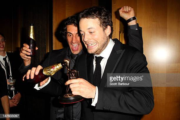 Hamish Blake poses Andy Lee after Blake won the Gold Logie at the 2012 Logie Awards at the Crown Palladium on April 15 2012 in Melbourne Australia