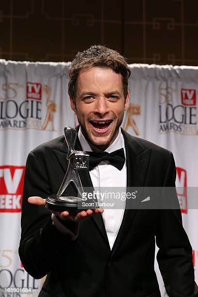 Hamish Blake poses in the awards room after winning the logie for Most Popular Presenter at the 2013 Logie Awards at the Crown Palladium on April 7...