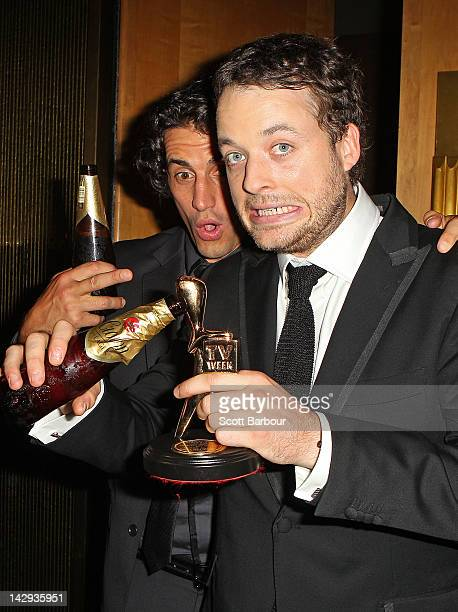 Hamish Blake poses with Andy Lee after Blake won the Gold Logie at the 2012 Logie Awards at the Crown Palladium on April 15 2012 in Melbourne...