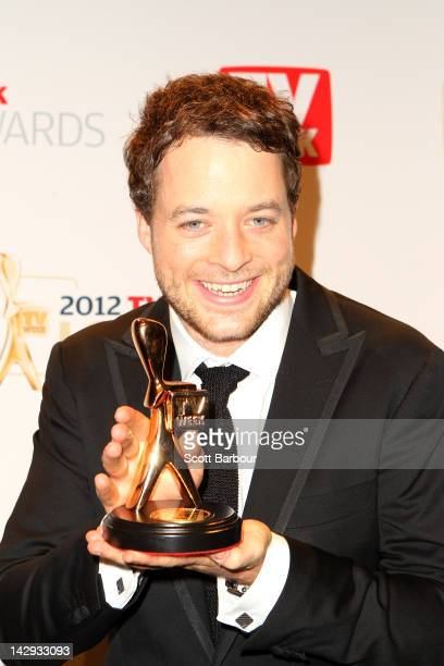 Hamish Blake poses with the Gold Logie at the 2012 Logie Awards at the Crown Palladium on April 15 2012 in Melbourne Australia