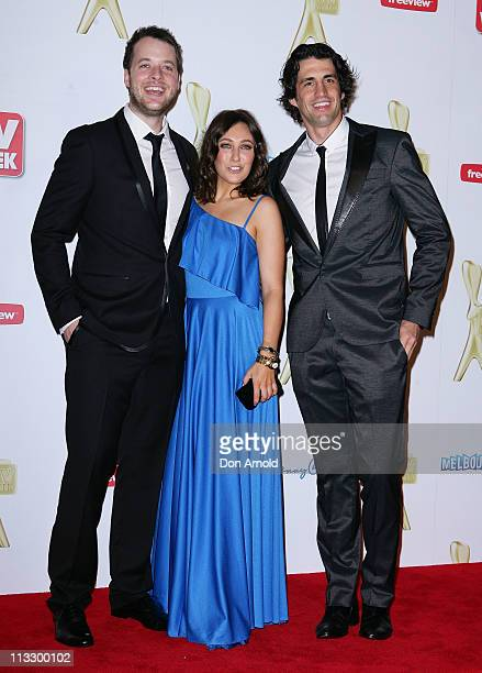 Hamish Blake Zoe Foster and Andy Lee arrive on the red carpet ahead of the 2011 Logie Awards at Crown Palladium on May 1 2011 in Melbourne Australia