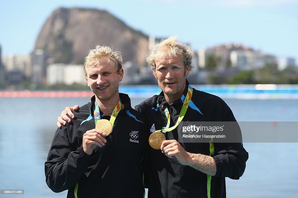 Hamish Bond and Eric Murray of New Zealand pose after winning the gold medal in the Men's Pair Final A on Day 6 of the Rio 2016 Olympic Games at the...
