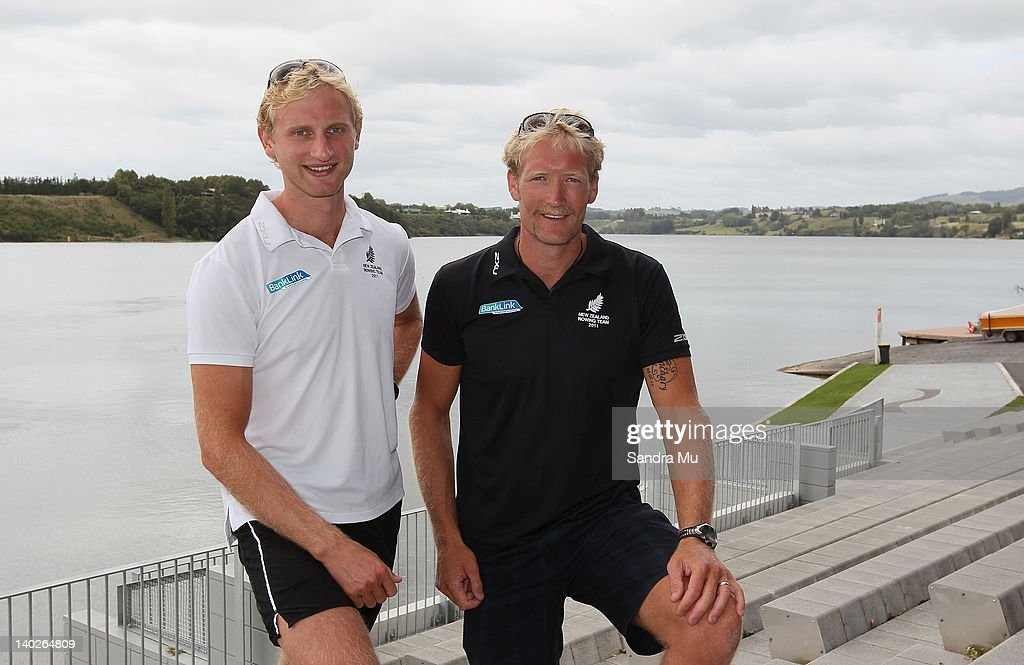 Hamish Bond (L) and Eric Murray pose during a press conference to announce the New Zealand 2012 rowing team at Lake Karapiro on March 2, 2012 in Cambridge, New Zealand.