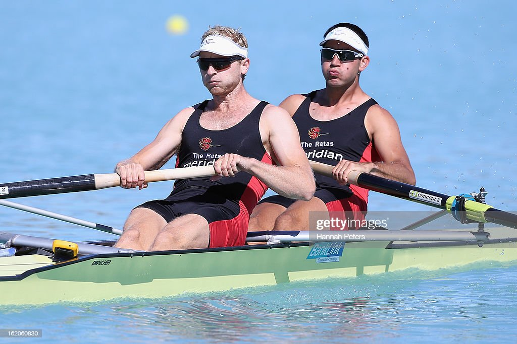 <a gi-track='captionPersonalityLinkClicked' href=/galleries/search?phrase=Hamish+Bond&family=editorial&specificpeople=761128 ng-click='$event.stopPropagation()'>Hamish Bond</a> and Jade Uru of Southern compete in the Men's Premier 2- heat during the New Zealand Rowing Championships at Lake Ruataniwha on February 19, 2013 in Twizel, New Zealand.