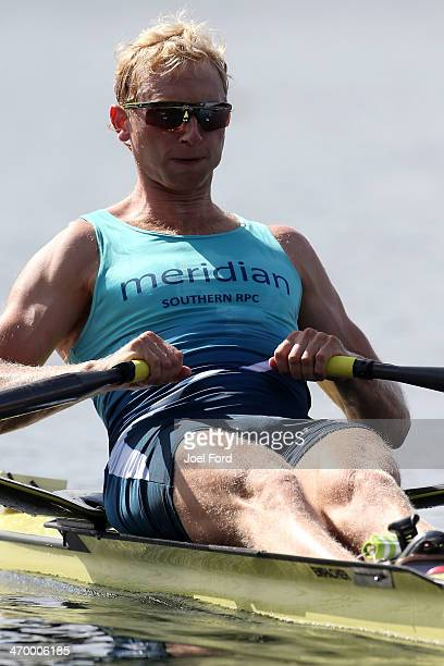 Hamish Bond of Southern RPC competes in the men's premier single sculls during the Bankstream New Zealand Rowing Championships at Lake Karapiro on...
