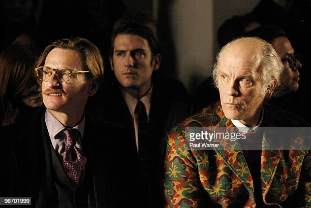 Hamish Bowles and actor designer John Malkovich attend Michael Bastian Fall 2010 during MercedesBenz Fashion Week at Exit Art on February 14 2010 in...