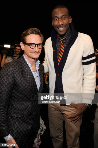 Hamish Bowles and Amar'e Stoudemire attend TOMMY HILFIGER Spring 2011 Fashion Show at Lincoln Center The Theatre on September 12 2010