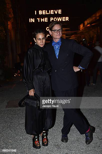 Hamish Bowles and Delfina Delettrez Fendi attend the Givenchy #GRTmilano17 party during the Milan Fashion Week Spring/Summer 2016 on September 25...