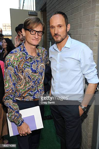 Hamish Bowles and Josep Font attend the Delpozo fashion show during MercedesBenz Fashion Week Spring 2014 at Pillars 38 on September 8 2013 in New...