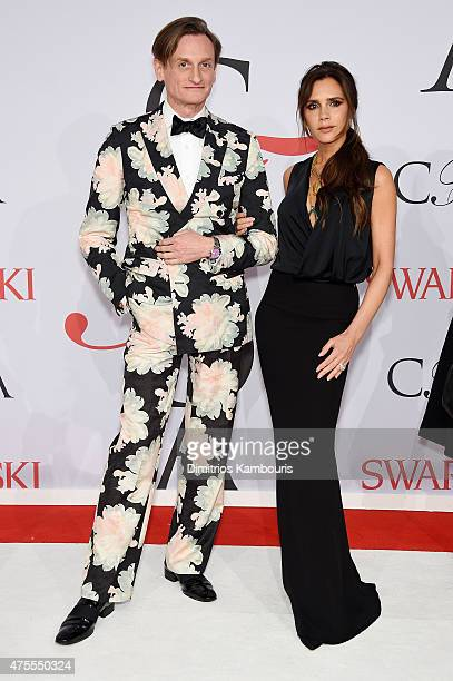 Hamish Bowles and Victoria Beckham attend the 2015 CFDA Fashion Awards at Alice Tully Hall at Lincoln Center on June 1 2015 in New York City