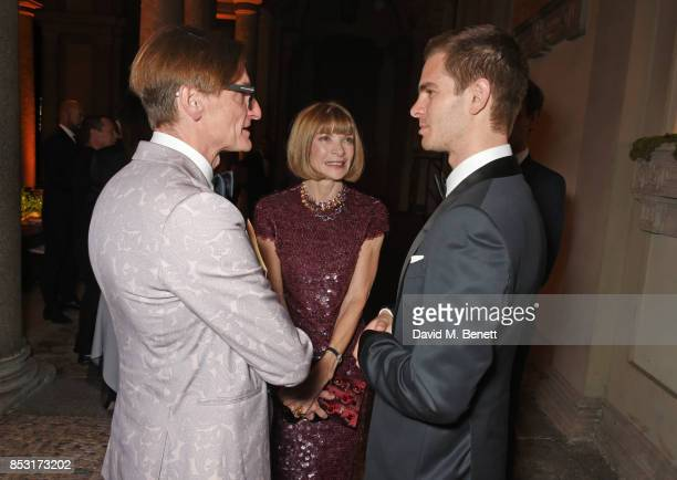 Hamish Bowles Anna Wintour and Andrew Garfield attend a private dinner hosted by Livia Firth following the Green Carpet Fashion Awards Italia at...