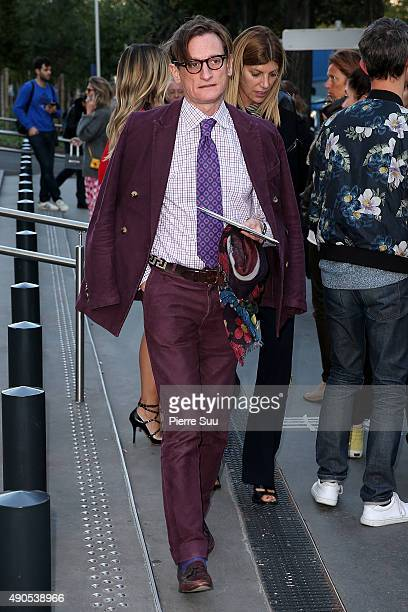 Hamish Bowles arrives at the Anthony Vaccarello show as part of the Paris Fashion Week Womenswear Spring/Summer 2016 on September 29 2015 in Paris...
