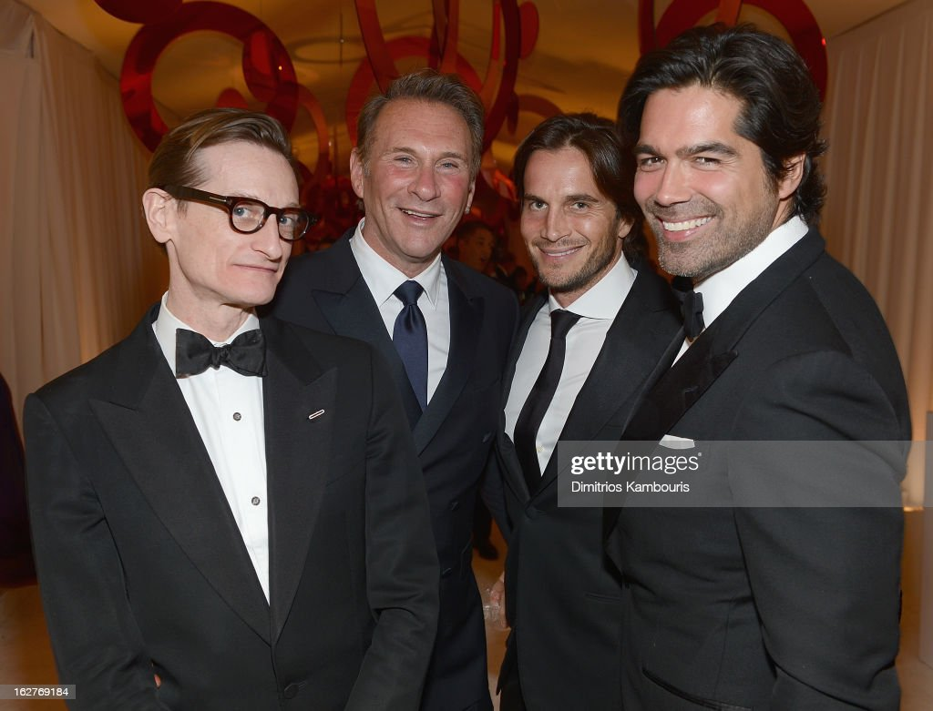Hamish Bowles, Hal Rubenstein, guest and Brian Atwood attend the 21st Annual Elton John AIDS Foundation Academy Awards Viewing Party at West Hollywood Park on February 24, 2013 in West Hollywood, California.