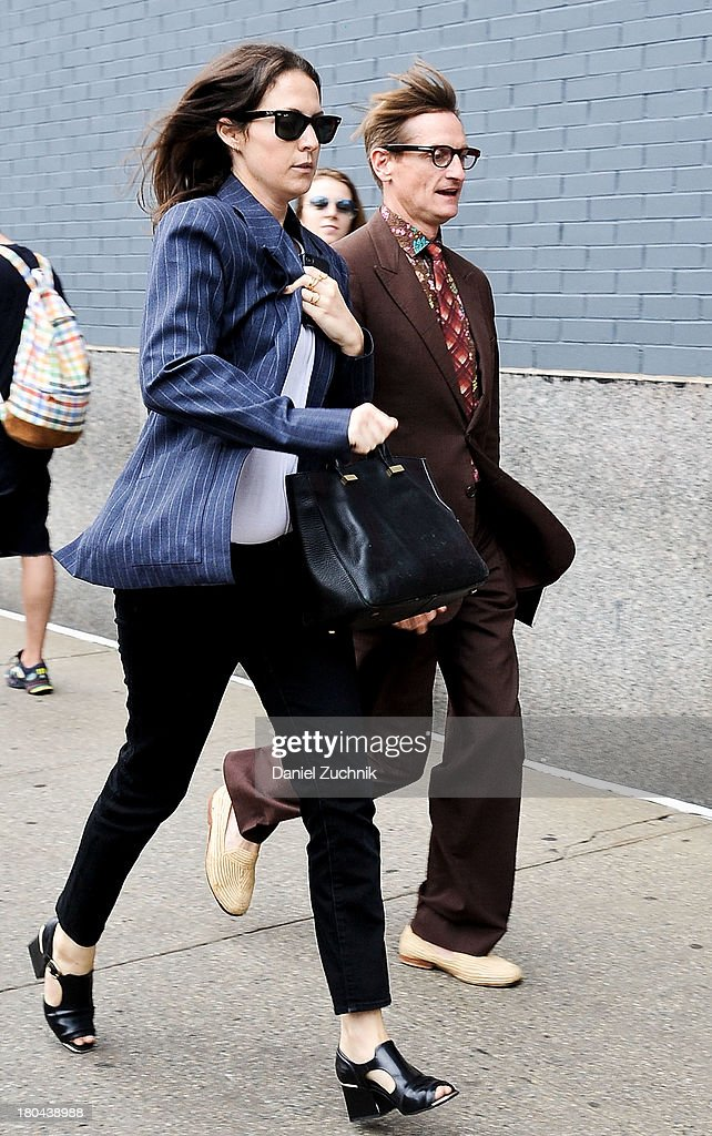 <a gi-track='captionPersonalityLinkClicked' href=/galleries/search?phrase=Hamish+Bowles&family=editorial&specificpeople=217532 ng-click='$event.stopPropagation()'>Hamish Bowles</a>(R) is seen outside the Calvin Klein show on September 12, 2013 in New York City.