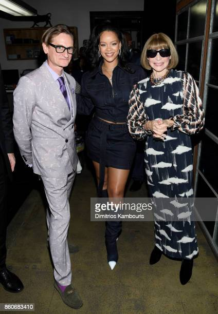 Hamish Bowles Rihanna and Anna Wintour attend Vogue's Forces of Fashion Conference at Milk Studios on October 12 2017 in New York City