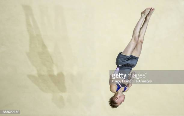 Hamish Carter wins silver in the Men's Floor during day three of the 2017 Gymnastics British Championships at the Echo Arena Liverpool