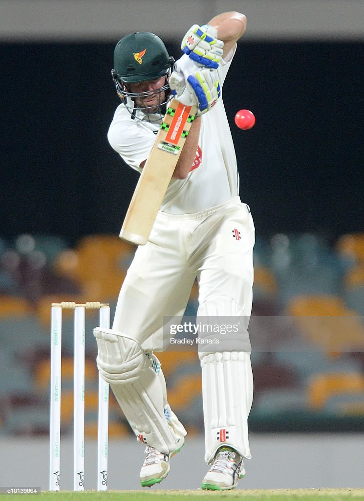 Hamish Kingston of Tasmania bats during day one of the Sheffield Shield match between Queensland and Tasmania at The Gabba on February 14, 2016 in Brisbane, Australia.