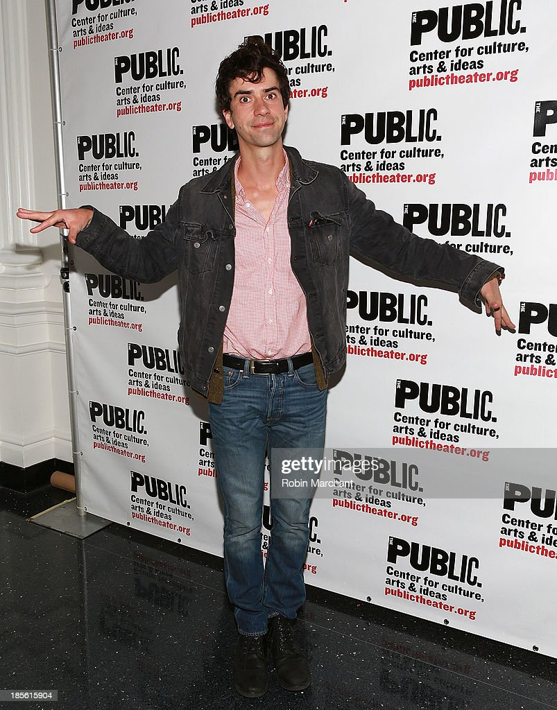 <a gi-track='captionPersonalityLinkClicked' href=/galleries/search?phrase=Hamish+Linklater&family=editorial&specificpeople=646154 ng-click='$event.stopPropagation()'>Hamish Linklater</a> attends the opening night celebration of 'Fun Home' at The Public Theater on October 22, 2013 in New York City.