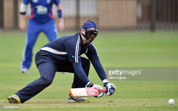 Hamish Mackenzie of Australia bats during the 3rd ODI match between England Blind Squad and Australia Blind Squad at Warwick School on June 2 2012 in...