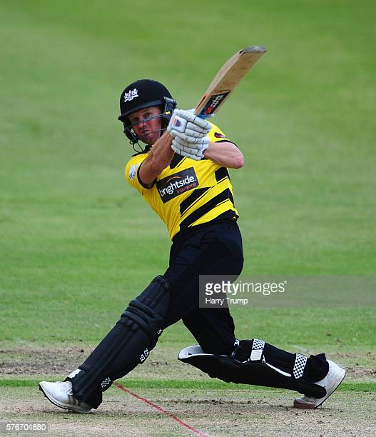 Hamish Marshall of Gloucestershire bats during the Natwest T20 Blast match between Gloucestershire and Essex at The College Ground on July 17 2016 in...