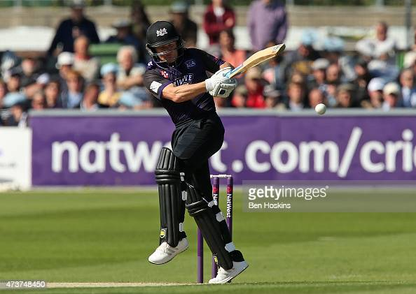Hamish Marshall of Gloucestershire hits out during the Natwest T20 blast match between Sussex and Gloucestershire at BrightonandHoveJobscom County...