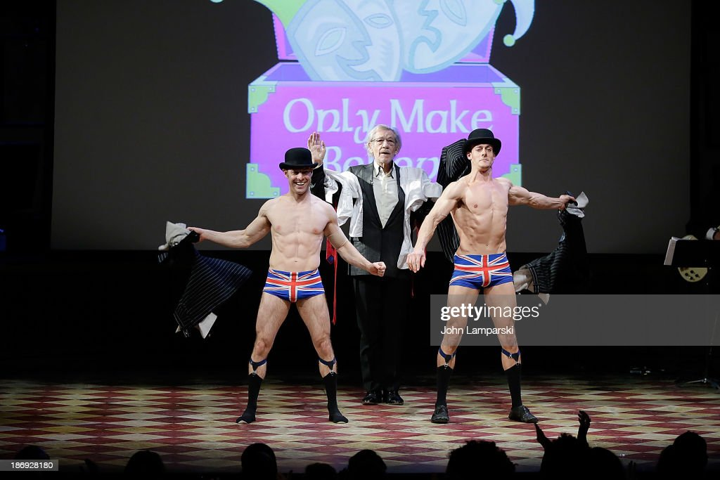 Hamish McCann and Denis Lock perform while Sir Ian MKellen looks on at the 14th annual Make Believe On Broadway gala>> at The Bernard B. Jacobs Theatre on November 4, 2013 in New York City.