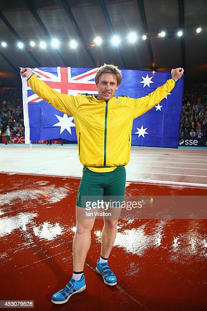 Hamish Peacock of Australia celebrates winning bronze in the Men's Javelin final at Hampden Park during day ten of the Glasgow 2014 Commonwealth...