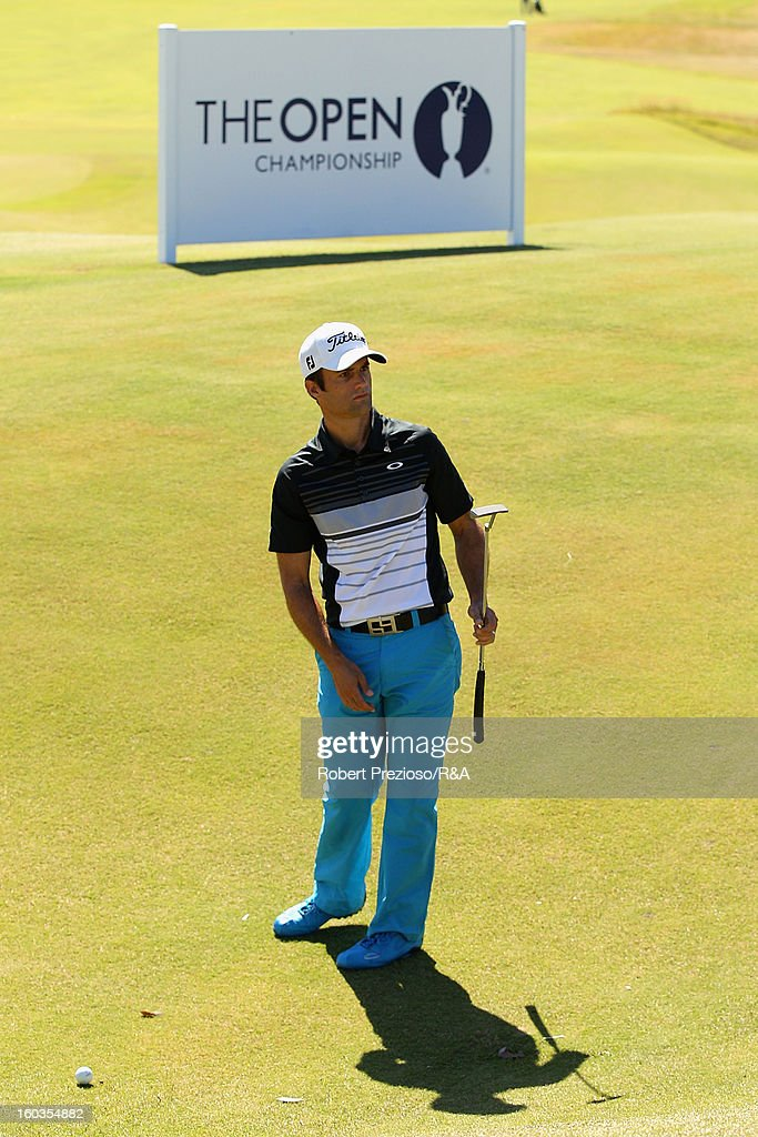 Hamish Robertson of New Zealand prepares to play a shot on the 18th hole during day two of the British Open International Final Qualifying Australasia at Kingston Heath Golf Club on January 30, 2013 in Melbourne, Australia.