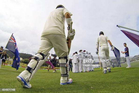 Hamish Rutherford and Peter Fulton of New Zealand take the field during day one of the Second Test match between New Zealand and the West Indies at...