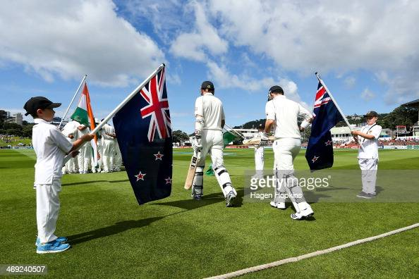 Hamish Rutherford and Peter Fulton of New Zealand take the field during day one of the 2nd Test match between New Zealand and India at Basin Reserve...