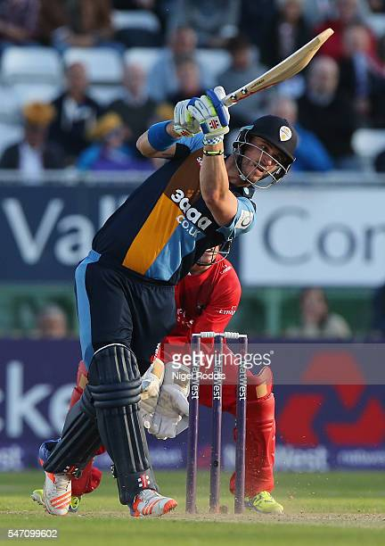Hamish Rutherford of Derbyshire Falcons plays a shot during the NatWest T20 Blast between Derbyshire Falcons and Lancashire Lightning at The 3aaa...
