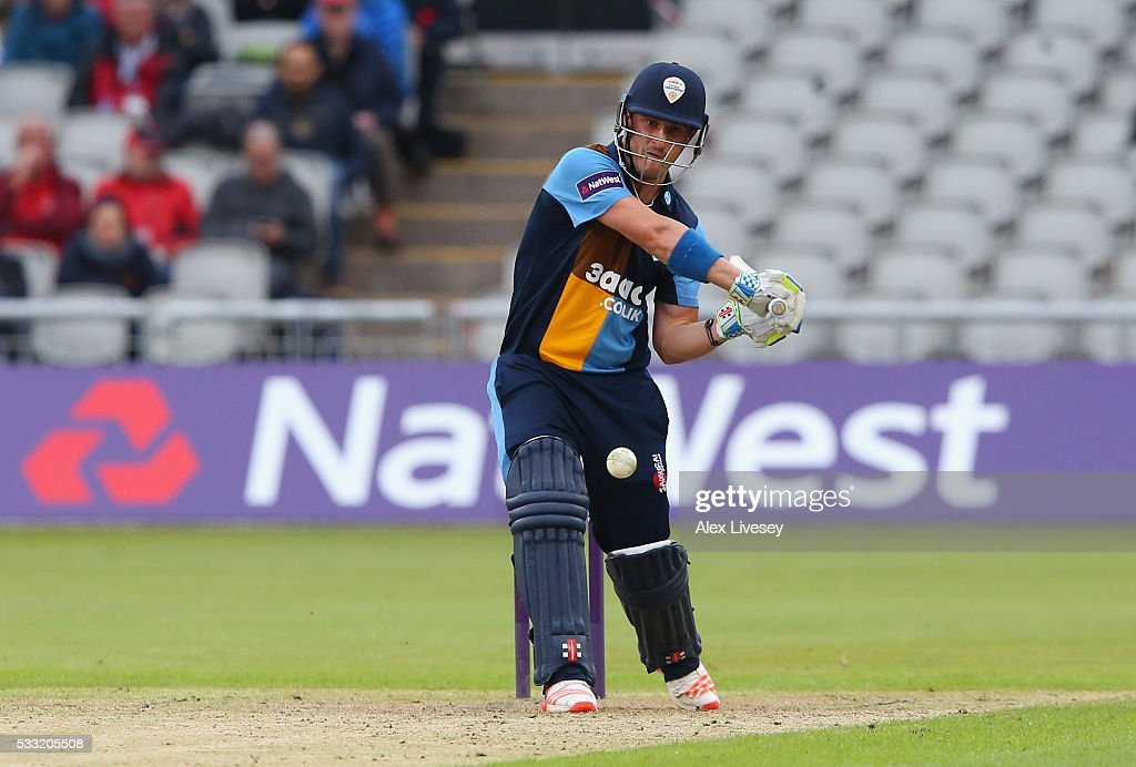 Hamish Rutherford of Derbyshire plays a shot during the NatWest T20 Blast between Lancashire and Derbyshire at Old Trafford on May 21 2016 in...