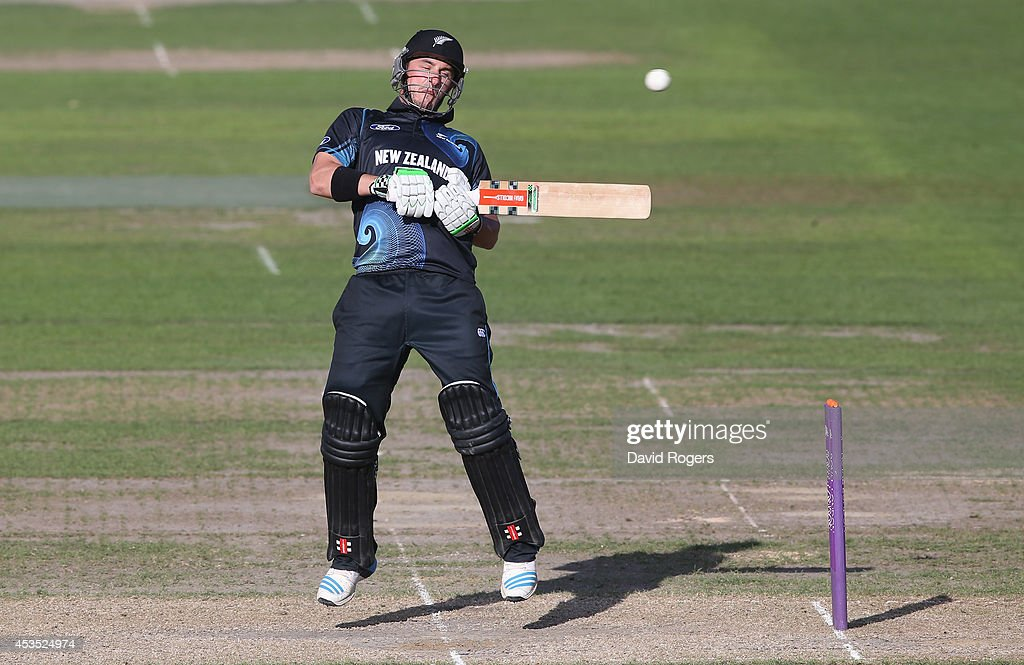 Hamish Rutherford of New Zealand A ducks away from a delivery during the Triangular Series match between England Lions and New Zealand A at New Road...