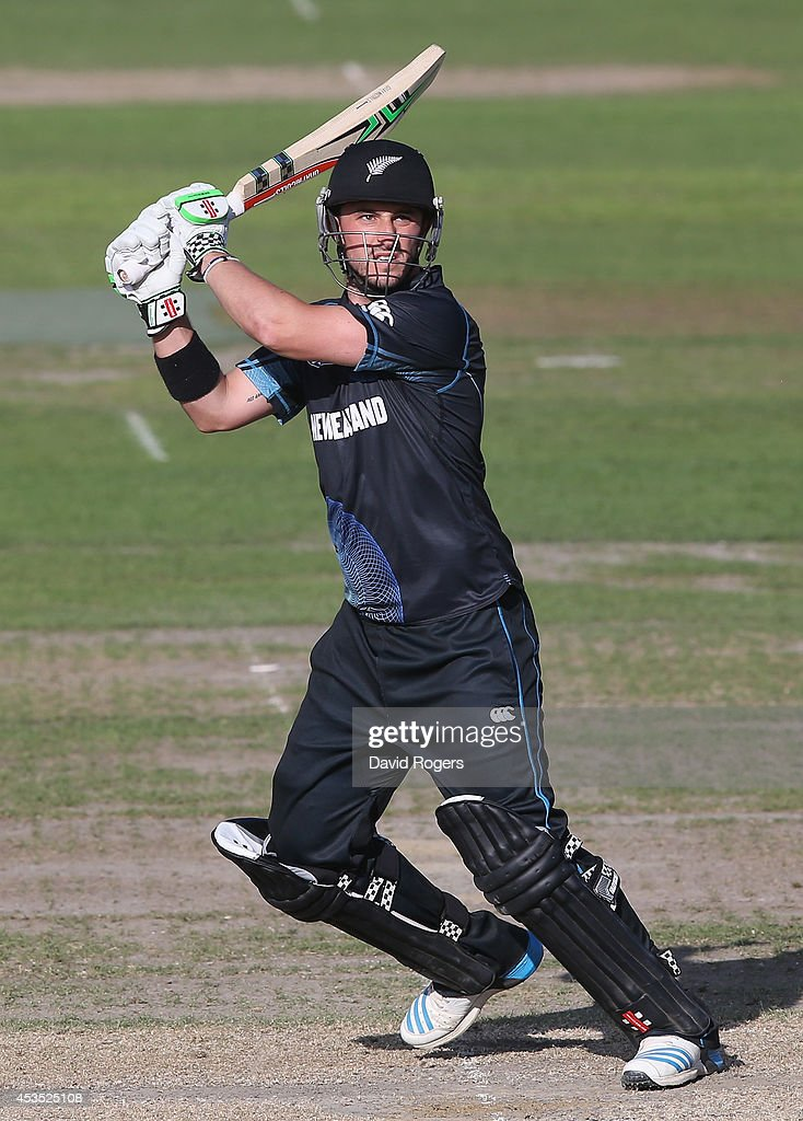 Hamish Rutherford of New Zealand A scores four runs during the Triangular Series match between England Lions and New Zealand A at New Road on August...