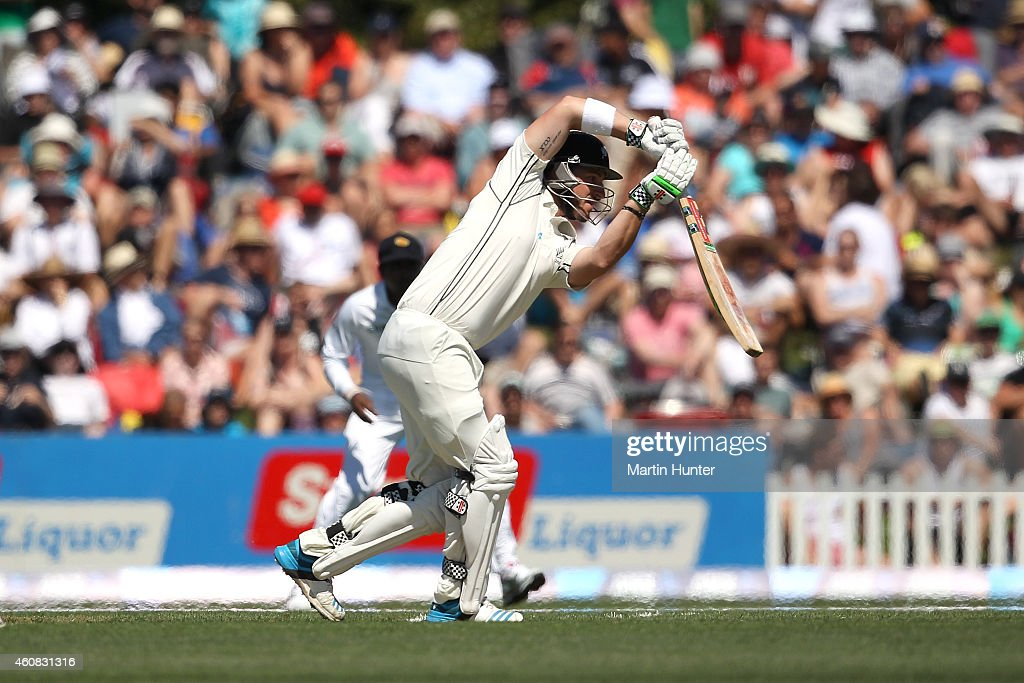 <a gi-track='captionPersonalityLinkClicked' href=/galleries/search?phrase=Hamish+Rutherford&family=editorial&specificpeople=4880824 ng-click='$event.stopPropagation()'>Hamish Rutherford</a> of New Zealand bats during day one of the First Test match between New Zealand and Sri Lanka at Hagley Oval on December 26, 2014 in Christchurch, New Zealand.